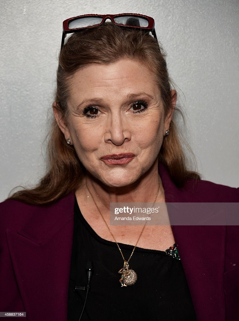 Actress Carrie Fisher attends the Live Talks Los Angeles Ruby Wax In Conversation With Carrie Fisher event at the Aero Theatre on November 11, 2014 in Santa Monica, California.