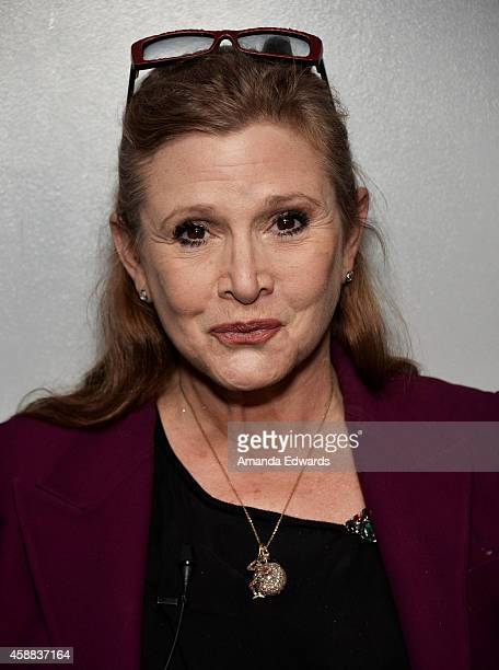 Actress Carrie Fisher attends the Live Talks Los Angeles Ruby Wax In Conversation With Carrie Fisher event at the Aero Theatre on November 11 2014 in...