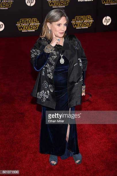 Actress Carrie Fisher attends the premiere of Walt Disney Pictures and Lucasfilm's Star Wars The Force Awakens at the Dolby Theatre on December 14...