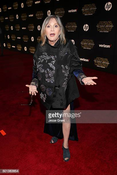 """Actress Carrie Fisher attends the World Premiere of """"Star Wars The Force Awakens"""" at the Dolby El Capitan and TCL Theatres on December 14 2015 in..."""