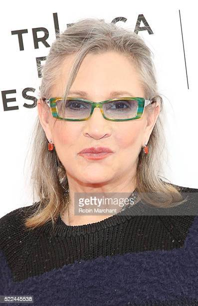 Actress Carrie Fisher attends Tribeca Tune In Catastrophe at SVA Theatre 2 on April 19 2016 in New York City