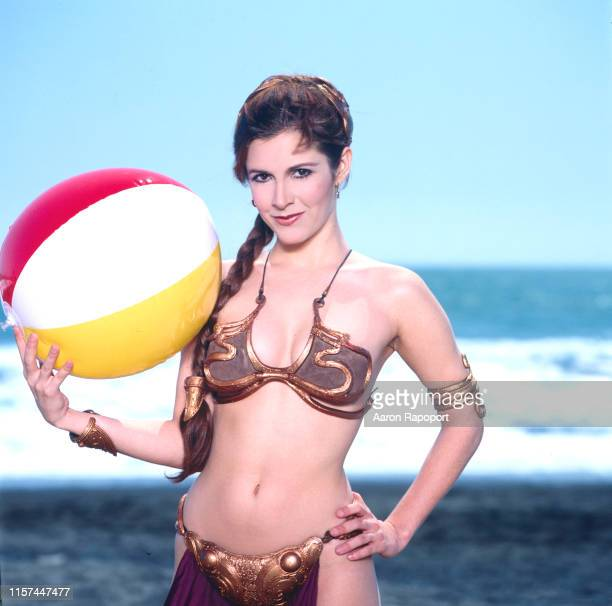 Actress Carrie Fisher poses on the beach for Star Wars in October 1983 At Stinson Beach California