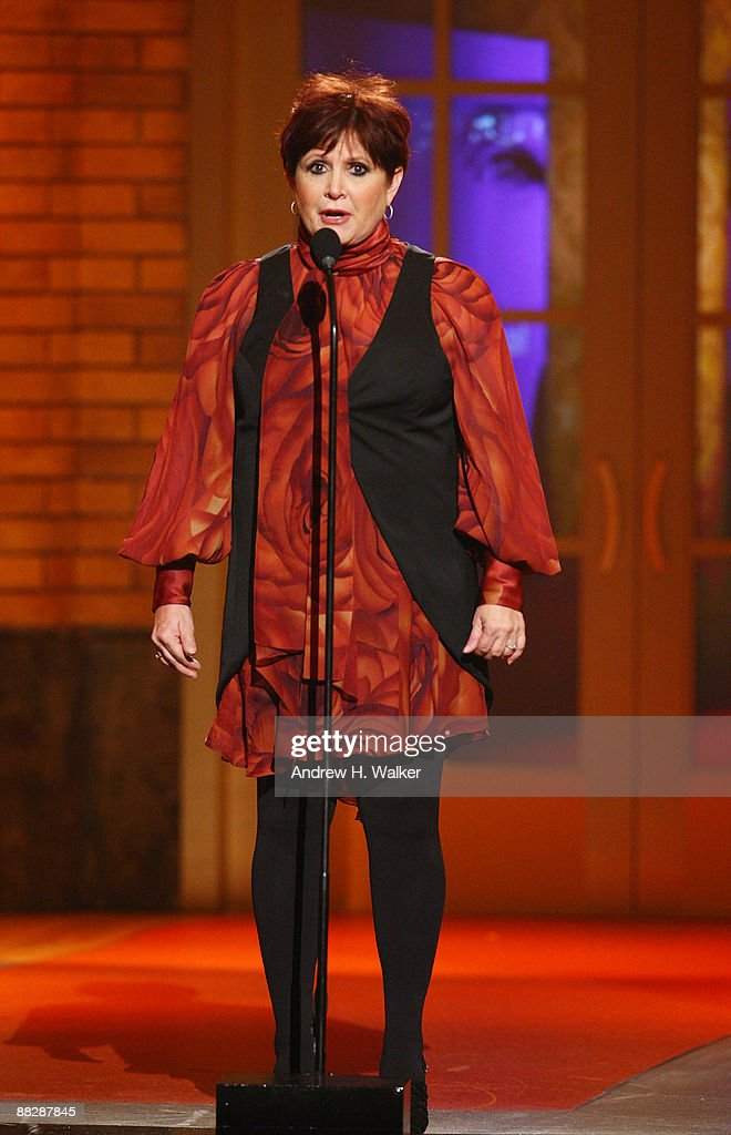 Actress Carrie Fisher speaks on stage during the 63rd Annual Tony Awards at Radio City Music Hall on June 7, 2009 in New York City.