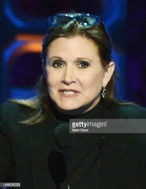 Actress Carrie Fisher speaks onstage at the Comedy Central Roast of Roseanne Barr at Hollywood Palladium on August 4, 2012 in Hollywood, California.