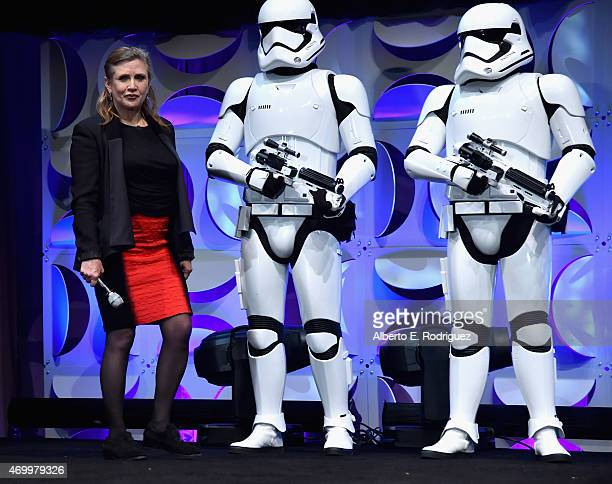 Actress Carrie Fisher speaks onstage during Star Wars Celebration 2015 on April 16 2015 in Anaheim California