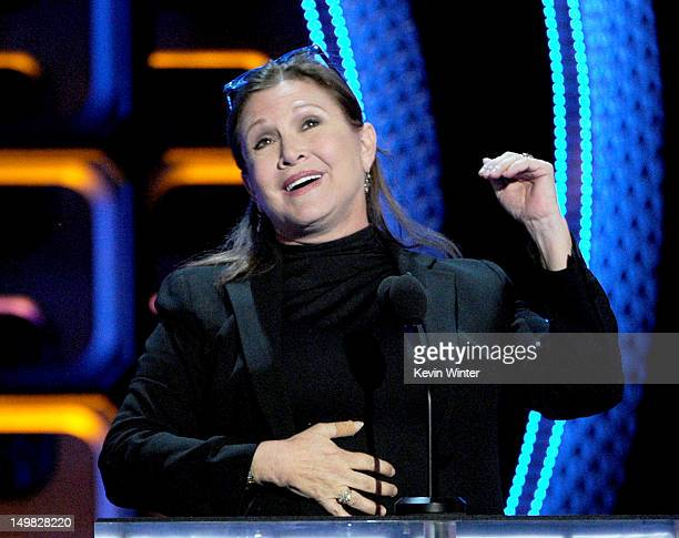 Actress Carrie Fisher speaks onstage during the Comedy Central Roast of Roseanne Barr at Hollywood Palladium on August 4 2012 in Hollywood California