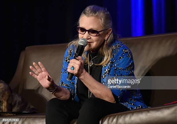 Actress Carrie Fisher speaks onstage during Wizard World Comic Con Chicago 2016 Day 4 at Donald E Stephens Convention Center on August 21 2016 in...