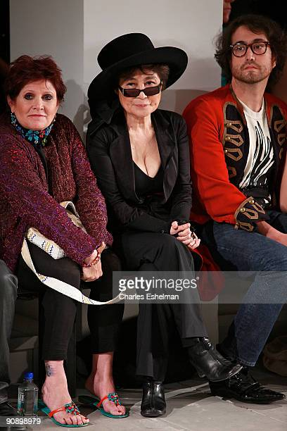 Actress Carrie Fisher Yoko Ono and Sean Lennon attend the ThreeASFOUR Spring/summer 2010 presentation during MercedesBenz Fashion Week at Milk...