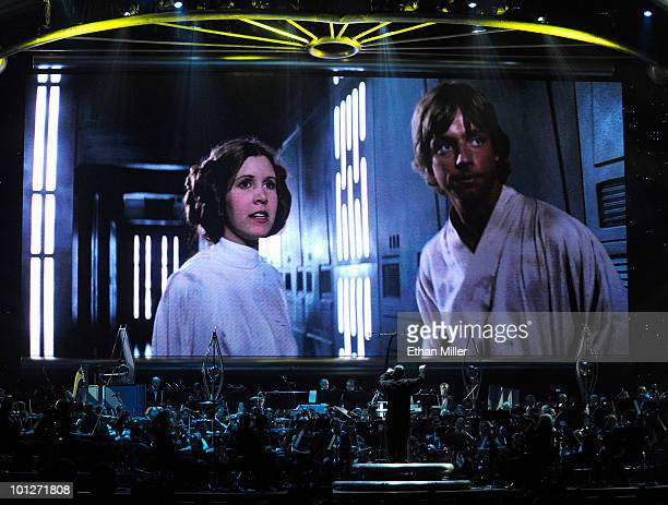 Actress Carrie Fisher's Princess Leia Organa character and actor Mark Hamill's Luke Skywalker character from Star Wars Episode IV A New Hope are...