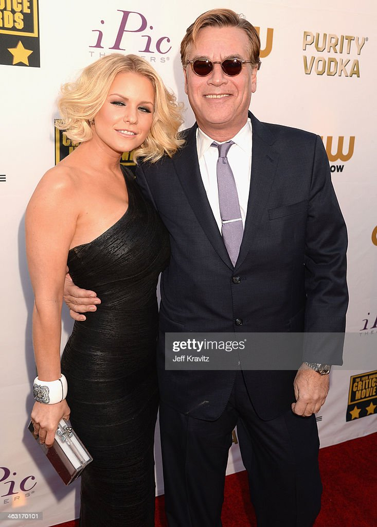 Actress Carrie Keagan and screenwriter Aaron Sorkin attend the 19th Annual Critics' Choice Movie Awards at Barker Hangar on January 16, 2014 in Santa Monica, California.