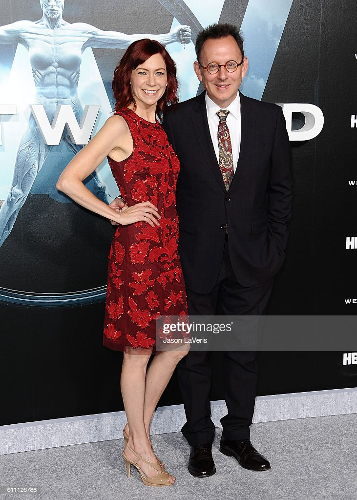 Actress Carrie Preston and actor Michael Emerson attend the premiere of 'Westworld' at TCL Chinese Theatre on September 28, 2016 in Hollywood, California.