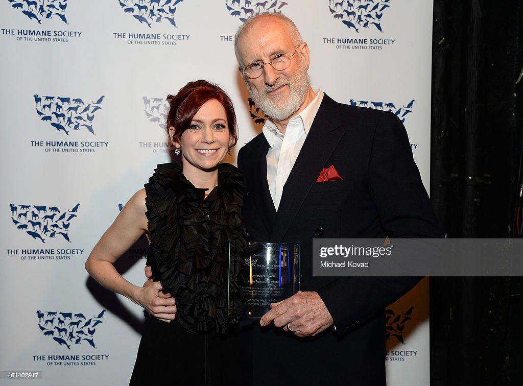 Actress Carrie Preston (L) and Honoree James Cromwell attend the Humane Society of The United States 60th Anniversary Gala at The Beverly Hilton Hotel on March 29, 2014 in Beverly Hills, California.