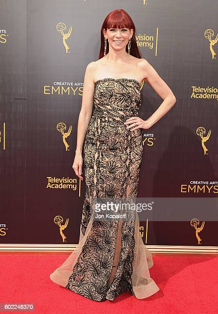 Actress Carrie Preston arrives at the 2016 Creative Arts Emmy Awards at Microsoft Theater on September 10 2016 in Los Angeles California