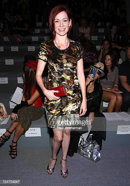 Actress Carrie Preston attends the Custo Barcelona Spring 2012 fashion show during Mercedes-Benz Fashion Week at The Stage at Lincoln Center on...