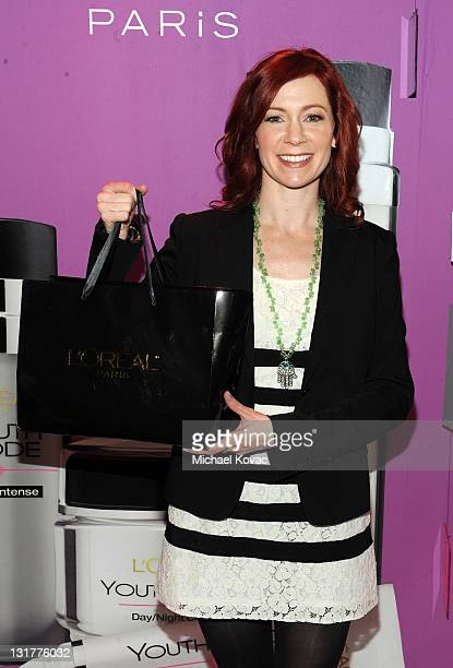 Actress Carrie Preston attends the HBO Luxury Lounge in honor of the 68th Annual Golden Globe Awards at The Four Seasons Hotel on January 15 2011 in...