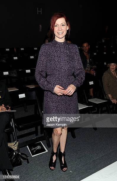 Actress Carrie Preston attends the Norman Ambrose Spring 2012 fashion show during MercedesBenz Fashion Week at The Studio at Lincoln Center on...