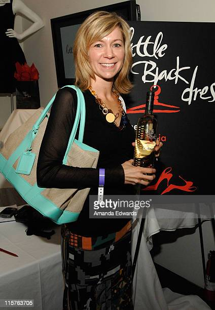 Actress Carrie Preston poses at Little Black Dress Wines at Kari Feinstein Golden Globes Style Lounge held at Zune LA on January 9, 2009 in Los...