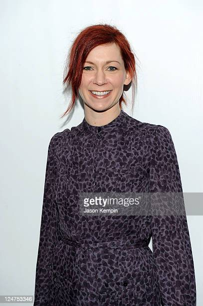 Actress Carrie Preston poses backstage at the Norman Ambrose Spring 2012 fashion show during MercedesBenz Fashion Week at The Studio at Lincoln...