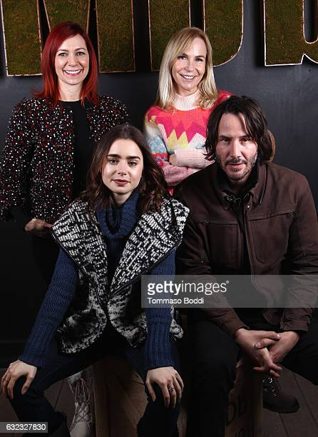 Actress Carrie Preston writer/director Marti Noxon actors Lily Collins and Keanu Reeves of 'To The Bone' attend The IMDb Studio featuring the...