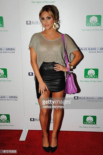 Actress Carrie Scerbo arrives at the Blue Jeans Go Green Event at SkyBar at the Mondrian Los Angeles on November 6 2013 in West Hollywood California