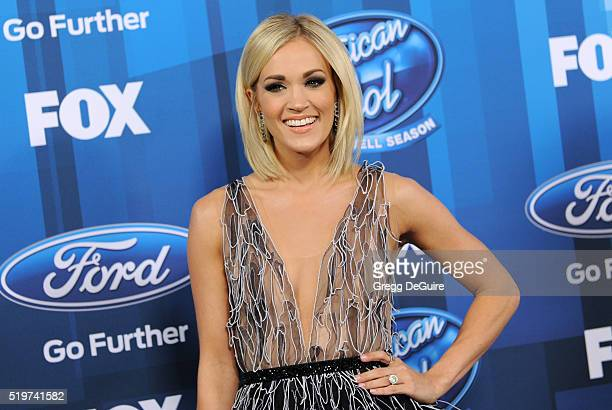 Actress Carrie Underwood arrives at FOX's American Idol Finale For The Farewell Season at Dolby Theatre on April 7 2016 in Hollywood California