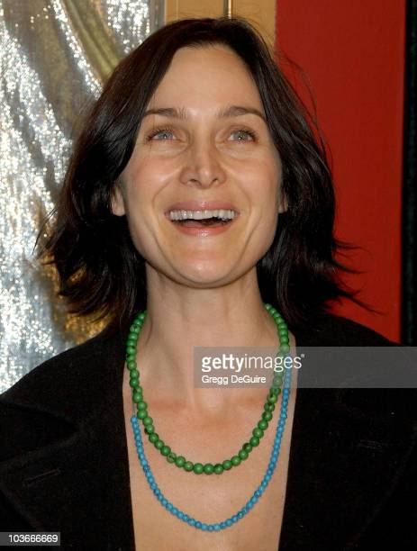 Actress CarrieAnne Moss arrives at the Los Angeles premiere of The Business of Being Born at the Fine Arts Theatre on January 14 2008 in Beverly...
