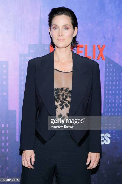 Actress CarrieAnne Moss attends the 'Jessica Jones' Season 2 New York Premiere at AMC Loews Lincoln Square on March 7 2018 in New York City