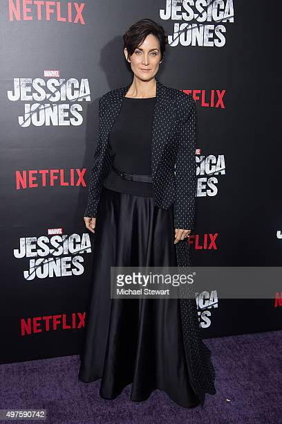 Actress CarrieAnne Moss attends the 'Jessica Jones' series premiere at Regal EWalk on November 17 2015 in New York City