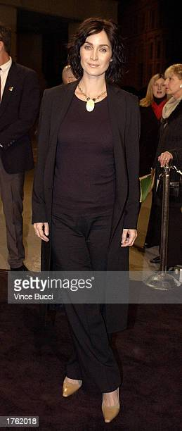 Actress CarrieAnne Moss attends the screening of the short animated film Final Flight of the Osiris and the debut of the video game Enter the Matrix...
