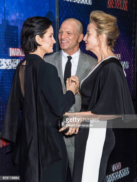 Actress CarrieAnne Moss Joseph Coleman and actress Janet McTeer attend Netflix's 'Marvel's Jessica Jones' Season 2 Premiere at AMC Loews Lincoln...