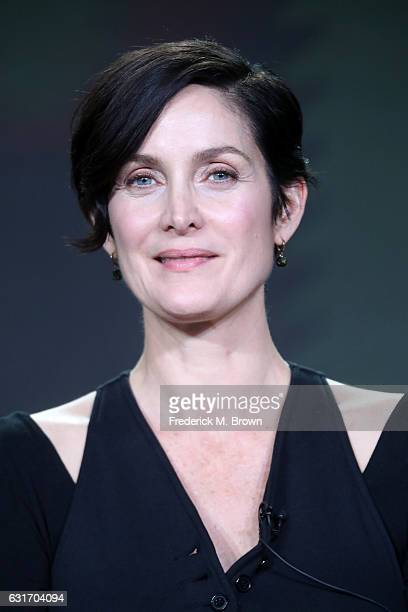 Actress CarrieAnne Moss of the series 'Humans' speaks onstage during the AMC portion of the 2017 Winter Television Critics Association Press Tour at...