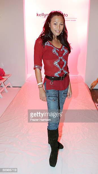 Actress Cassandra Hepburn in the front row at the Kelly Nishimoto Spring 2006 show during MercedesBenz Fashion Week at Smashbox Studios on October 19...