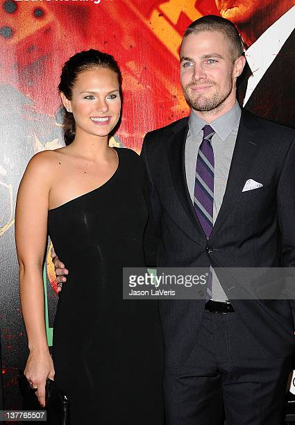 """Actress Cassandra Jean and actor Stephen Amell attend the premiere of HBO's new series """"LUCK"""" at Grauman's Chinese Theatre on January 25, 2012 in..."""