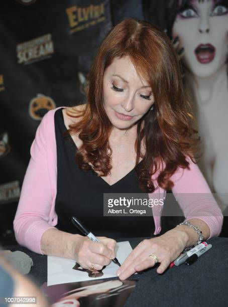 Actress Cassandra Petersen signs autographs at Midsummer Scream The World's Largest Halloween And Horror Convention held at Long Beach Convention...