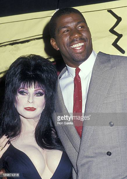 Actress Cassandra Peterson and athlete Earvin 'Magic' Johnson attend the Fifth Annual MTV Video Music Awards on September 7 1988 at the Universal...