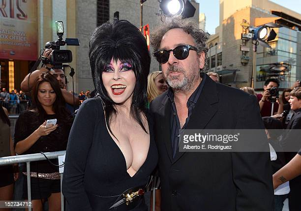Actress Cassandra Peterson and Writer/Director/Producer Tim Burton arrive at Disney's 'Frankenweenie' premiere at the El Capitan Theatre on September...