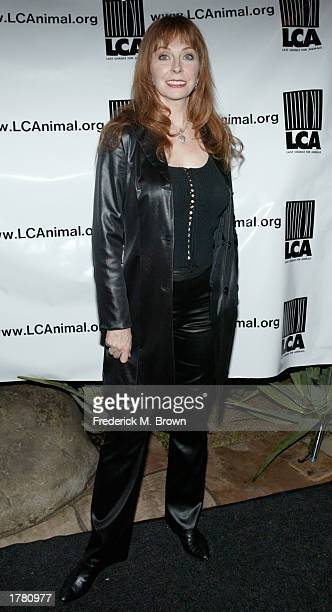 Actress Cassandra Peterson attends the Last Chance For Animals fundraiser party on February 12 2003 in Los Angeles California The event benefits...
