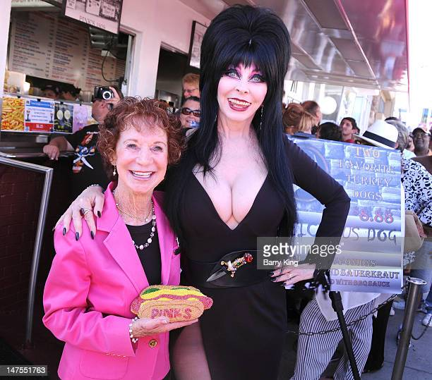 Actress Cassandra Peterson attends the launch of her new signature Elvira hot dog at Pink's Hot Dogs on July 1 2012 in Los Angeles California
