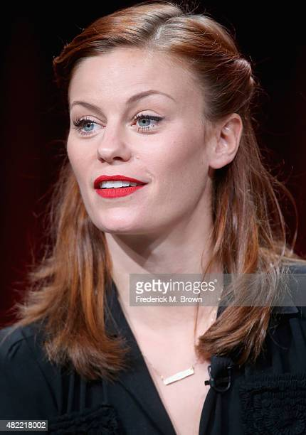 Actress Cassidy Freeman speaks onstage during the 'Longmire' panel discussion at the Netflix portion of the 2015 Summer TCA Tour at The Beverly...