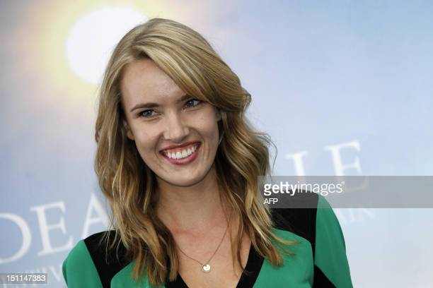 US actress Cassidy Gard poses during a photocall for the film Electrick Children on September 2 at the 38th US Film Festival in the French...