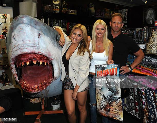 Actress Cassie Scerbo actress Tara Reid and actor Ian Ziering participate in the Sharknado DVD Signing held at Dark Delicacies Bookstore on September...