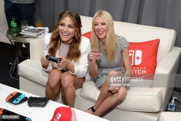 Actress Cassie Scerbo and actress Tara Reid from movie Sharknado 5 stopped by Nintendo at the TV Insider Lounge to check out Nintendo Switch during...