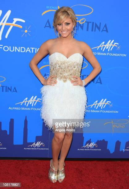 Actress Cassie Scerbo arrives at the Alfred E Mann Foundation Black Tie gala Fundraiser at Hangar 8 Santa Monica Airport on October 10 2010 in Santa...