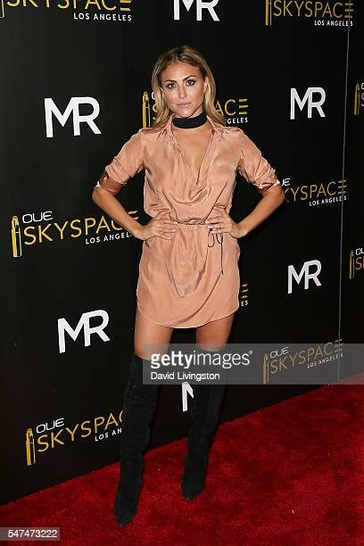 Actress Cassie Scerbo arrives at the Launch of OUE Skyspace LA at the US Bank Tower on July 14 2016 in Los Angeles California