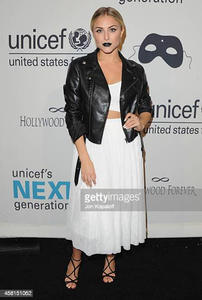 Actress Cassie Scerbo arrives at the UNICEF's Next Generation's 2nd Annual UNICEF Masquerade Ball on October 30 2014 in Los Angeles California