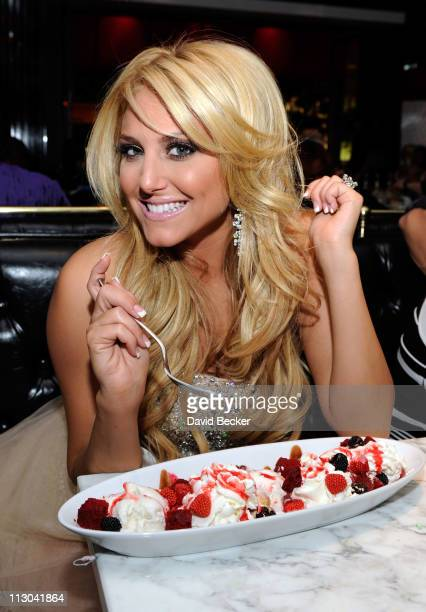 Actress Cassie Scerbo celebrates her birthday at the Sugar Factory American Brasserie at the Paris Las Vegas on April 22 2011 in Las Vegas Nevada