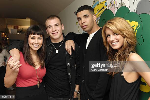 Actress Cassie Steele actor Shane Kippel actor Aubrey Graham and actress Shenae Grimes of the Cast of DeGrassi High pose for pictures while visiting...