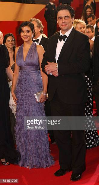 """Actress Catalina Sandino Moreno and actor Benicio Del Toro depart the """"Che"""" premiere at the Palais des Festivals during the 61st International Cannes..."""