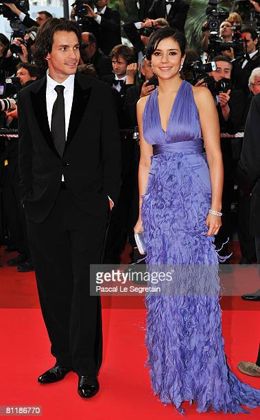 Actress Catalina Sandino Moreno and an unidentified guest arrive at the 'Che' Premiere at the Palais des Festivals during the 61st International...