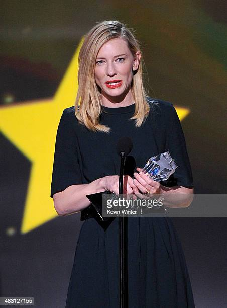 Actress Cate Blanchett accepts the Best Actress award for 'Blue Jasmine' onstage during the 19th Annual Critics' Choice Movie Awards at Barker Hangar...